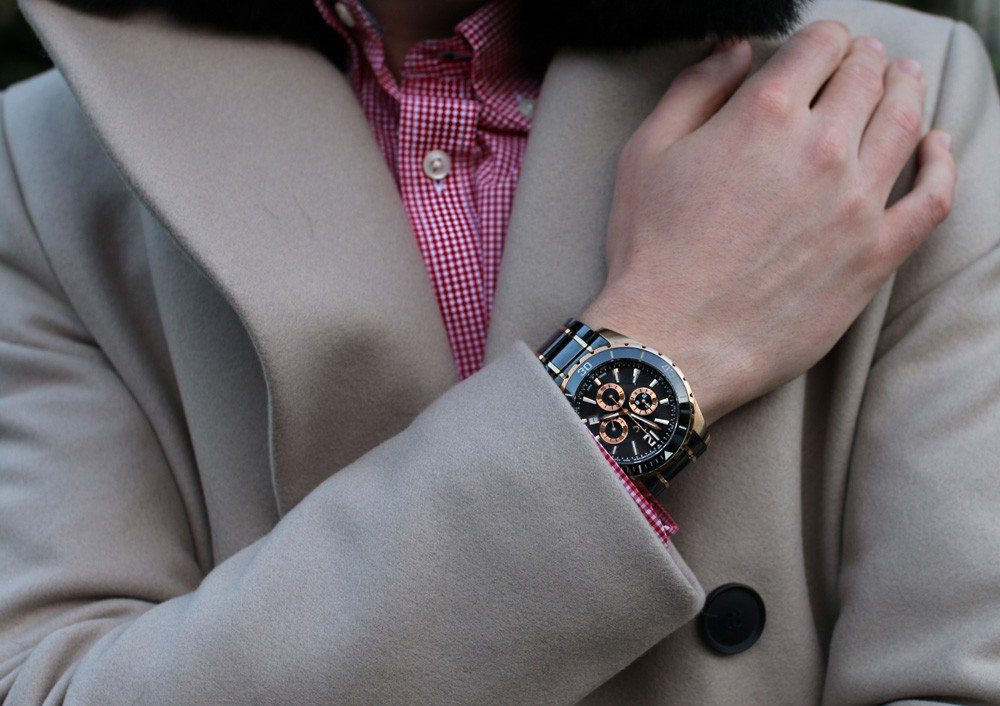 Robin-James-Reiss-Maverick-Camel-Coat-Fur-Collar-Rose-Gold-Guess-Watch