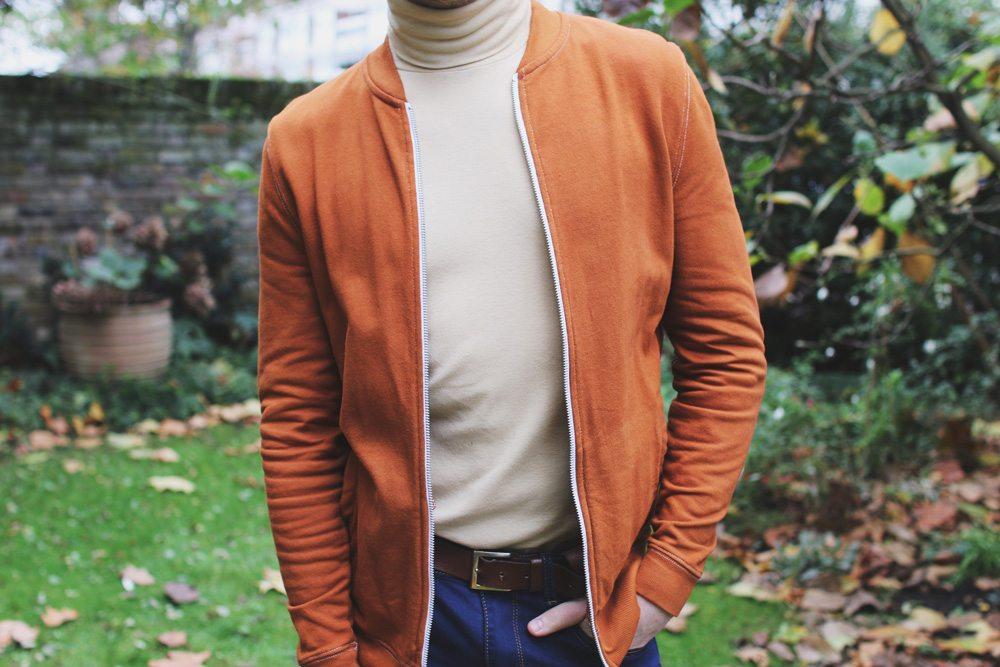beige-roll-neck-orange-bomber-Robin-James-Man-For-Himself