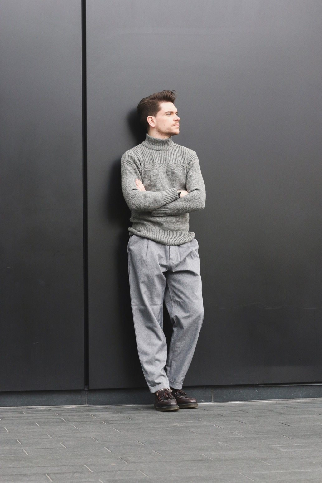 Menswear-Outfit-Turtle-Neck-Wide-Legged-Trousers-Beehive-Brand-Robin-James-Man-For-Himself