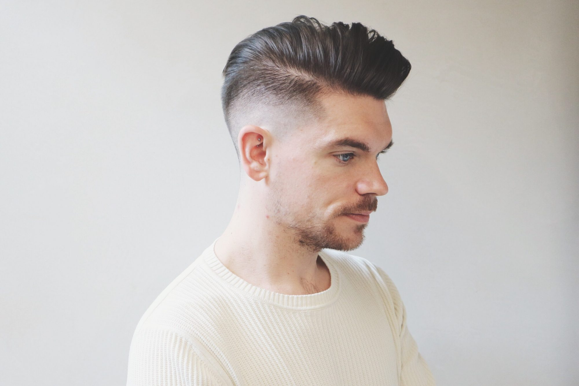 Skin Fade With Side Pomp Summer Haircut And Style Man For Himself